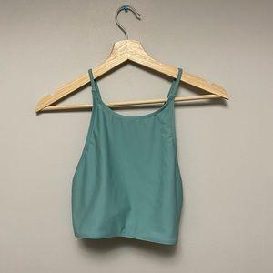 High neck turquoise bikini top